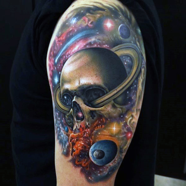 skull galaxy tattoos for men