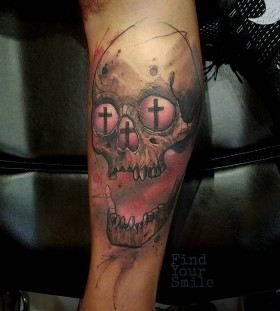 skull-watercolor-tattoo