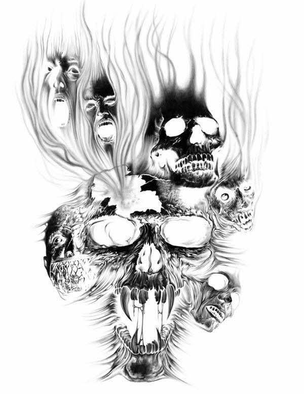 78dd6a4e6 Beautiful Burning Evil Skulls Sketch for Tattoo Design ...