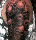 Amazingly Awesome Horror Flaming Skulls Tattoo Design for Men