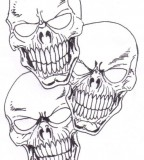 Creepy Three Skulls Sketch Tattoo Design