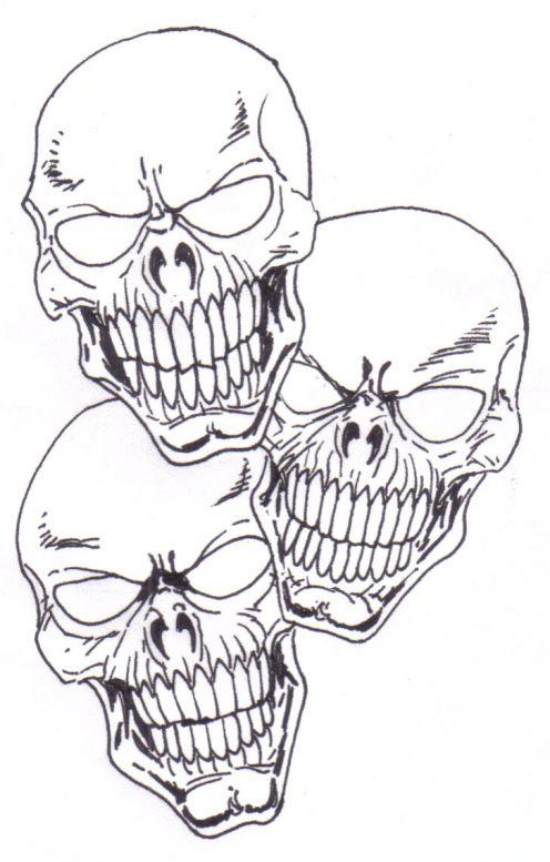 Creepy Three Skulls Sketch Tattoo Design