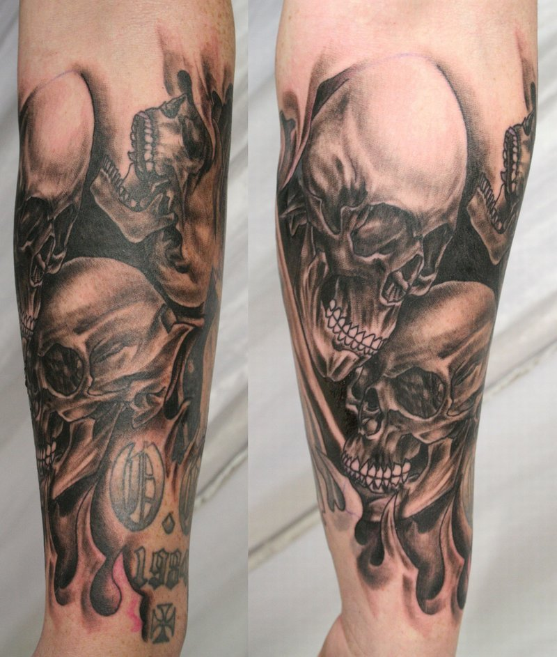 0a473f0b1 Wonderful Skulls in Flame Inspired Arm Tattoos - | TattooMagz ...