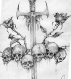 Meaningful Sword, Skulls, and Roses Drawing, Cool for Tattoo Design