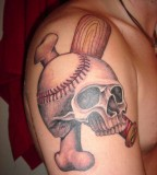 Stunning Baseball-Skull-Bone Inspired Tattoo on Men Upper Arm