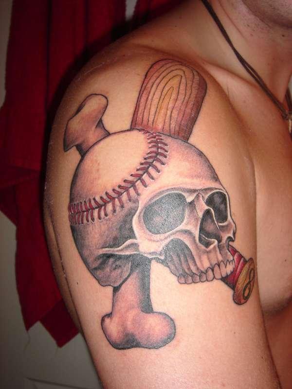 Stunning Baseball-Skull-Bone Inspired Tattoo on Men Upper Arm