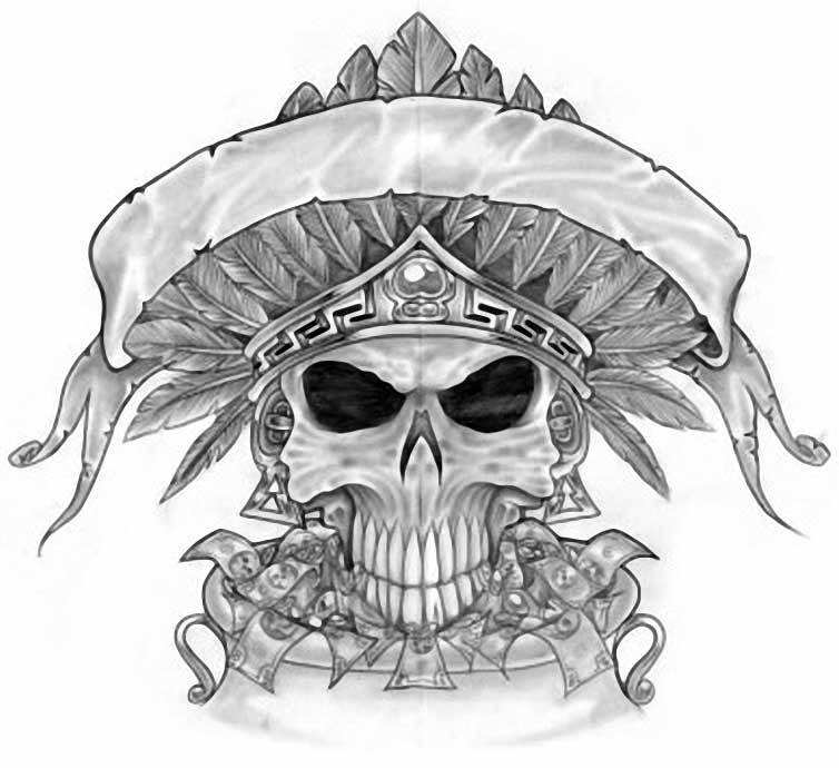 Amazing Skull and Money Sketch for Tattoo