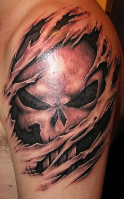 Gorgeous Punisher-Inspired Skull Inside Skin Tattoo Design for Men