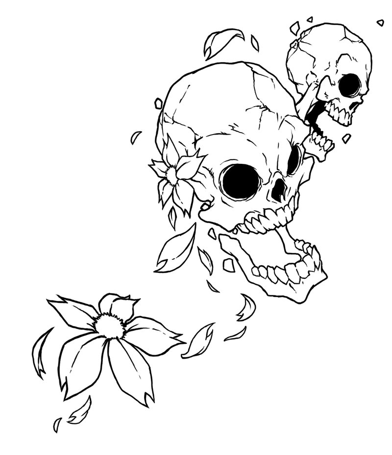 723e821d6ad2f Flower Skulls Tattoo Design By Raikoh101 - | TattooMagz › Tattoo ...