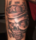 Beautiful Skull Soldier Tattoo Design on Lower Leg for Men