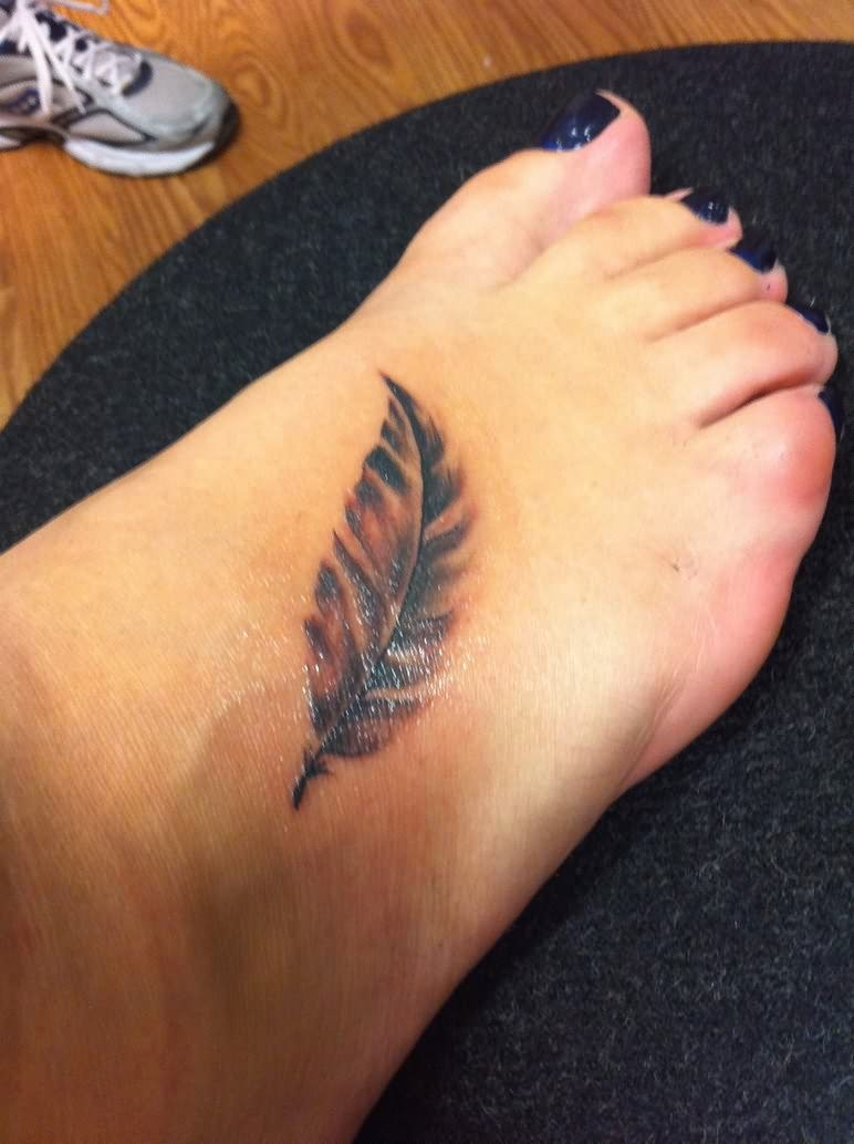 Black Feather Tattoo For Foot
