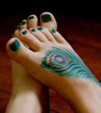 Sexy Foot With Green Feather Peacock Tattoo