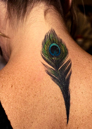 Nape Of Neck Peacock Feather Tattoo Photo