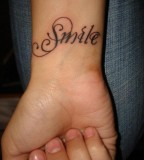 Smile Word Tattoo Designs For Men Wrist