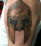 Body Art Inspirations Bronze Spartan Helmet Tattoo