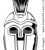 Black And White Spartan Helmet Up Front