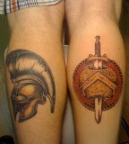 Legs Spartan Helmet Tattoos Side By Side