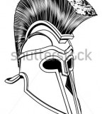 Monochrome Illustration Of A Bronze Spartan Helmet