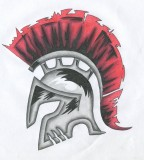 Spartan Helm With Red Hair