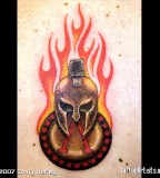 Spartan Helmet And Burning Shield Tattoo