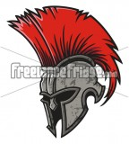Red Haired Spartan Helmet Tattoo Design