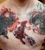 Carnage Versus Spiderman Chest Tattoo Design