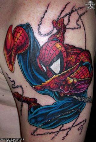 Swinging Spiderman Tattoo