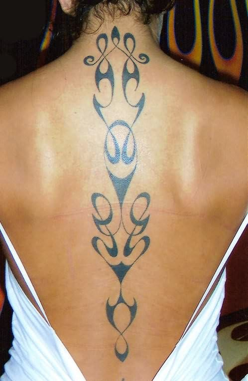 Fine Spine Tattoo Design For Woman