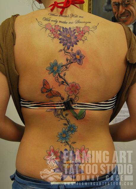 Back Flower Tattoos On Women