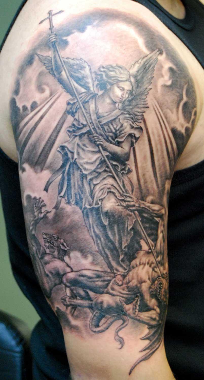 Black / Gray St Michael The Archangel Tattoo