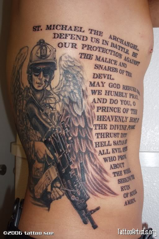 Quote And St Michael The Archangel Tattoo Design