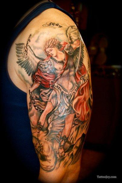 St Michael Tattoo Upper Arm – Shoulder Design