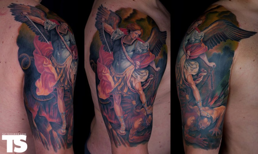 St Michael Tattoo – The High End Of Low Shoulder Tattoo