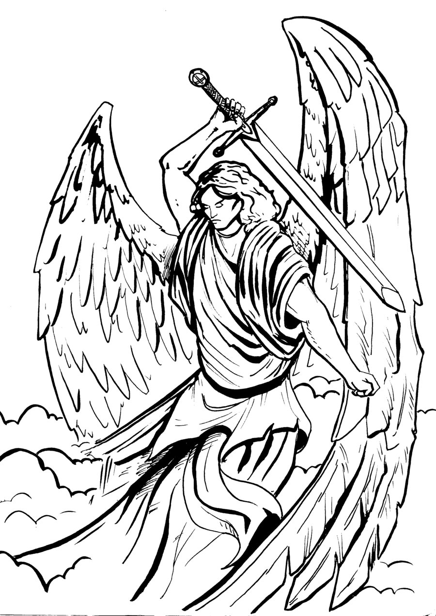Tattoo Archangel Michael – Black White Tattoo Design