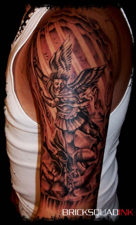 St Michael Half Sleeves Tattoo Ideas