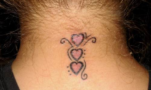 Great Star and Love Symbol For Neck Tattoo