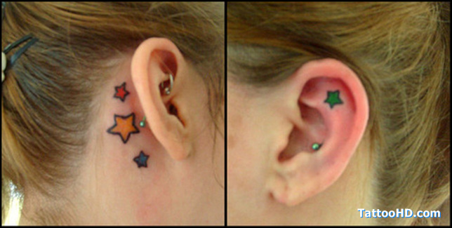 Star Tattoo On Back Of Neck Near Ear