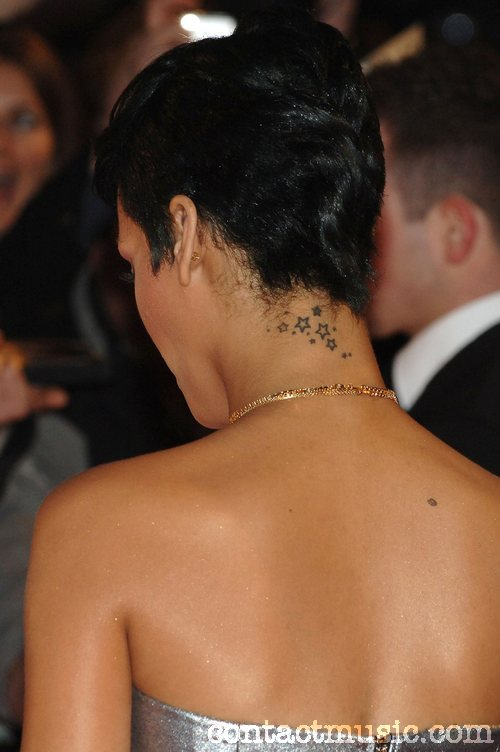 Artistic Rihanna Stars Tattoo Design On Neck