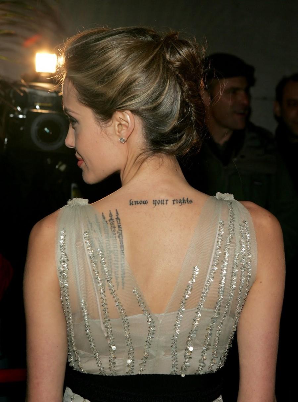 Angelina Jolie Back of Neck Tattoo
