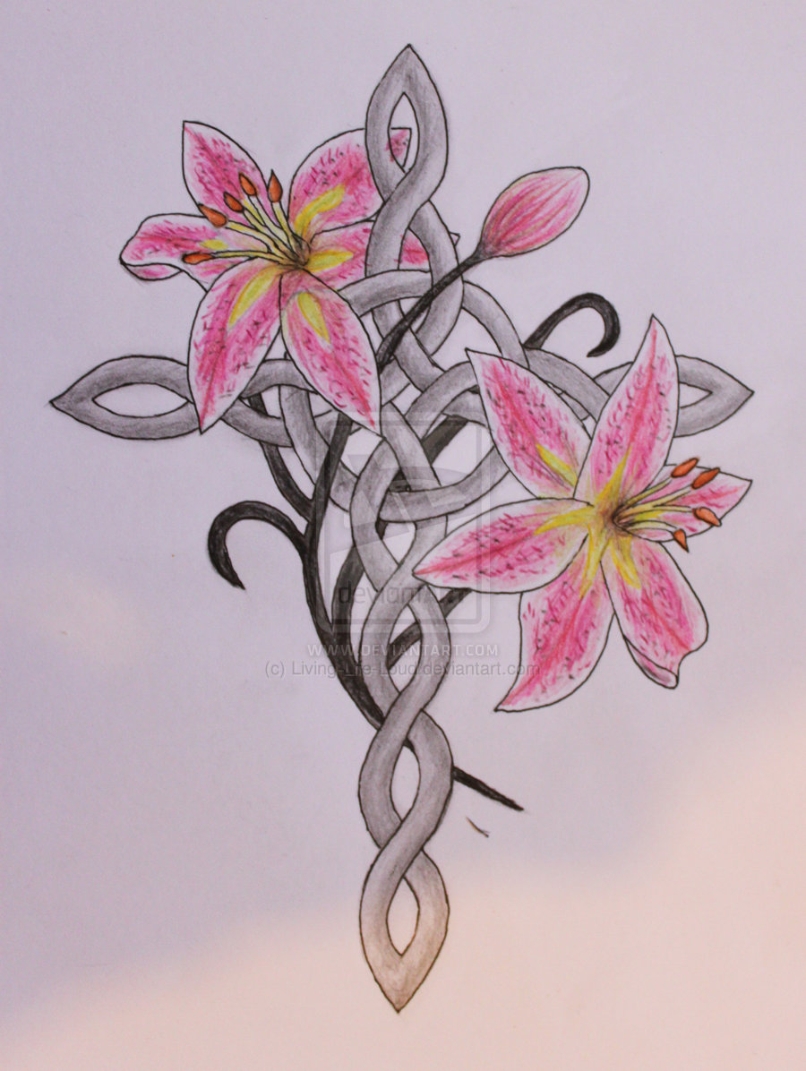 Celtic Cross And Stargazer Lilies Tattoo Design By Livinglife