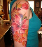 Attractive Stargazer Lily Tattoo For Girl