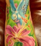 Colorful Nature Swallow And Stargazer Tattoo