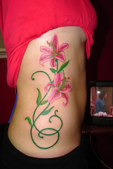 Beautiful Stargazer Lily Tattoo By Tmtattooart
