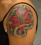 Red Lily Tattoo On Shoulder For Girl