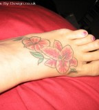 Pink Orange Stargazer Lily Tattoo Design on Foot