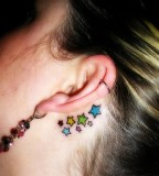 Back Ear Star Tattoos For Girls