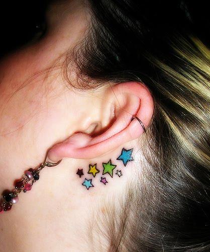 Back Ear Star Tattoos For Girls