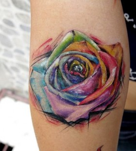 stunning watercolor rose flower tattoo