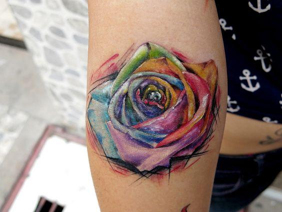 stunning watercolor rose flower tattoo