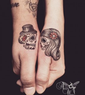sugar-skull-couple-halloween-tattoo